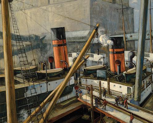 Adrien Hébert, « Le port de Montréal », 1924, huile sur toile. Québec, Musée national des beaux-arts du Québec, achat