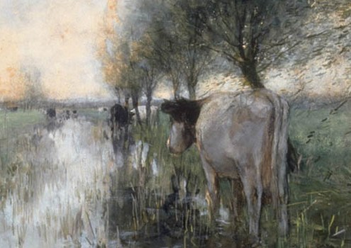 "Willem Maris, ""Cows Watering"" (detail), late 19th c."