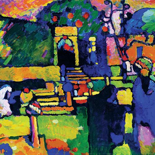 Wassily Kandinsky, Arabes I (Cimetière) (détail), 1909, huile sur carton. Hamburger Kunsthalle
