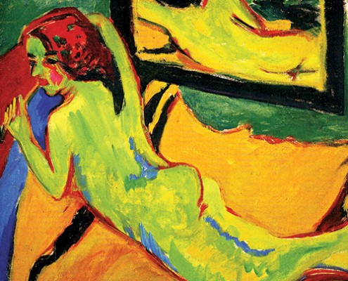 Ernst Ludwig Kirchner, Reclining Nude in Front of Mirror, 1909–10, oil on canvas. Berlin, Brücke Museum