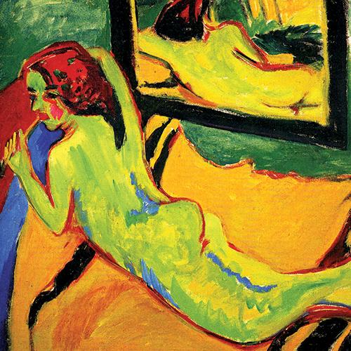 Ernst Ludwig Kirchner, Nu allongé devant un miroir, 1909-1910, huile sur toile. Berlin, Brücke Museum