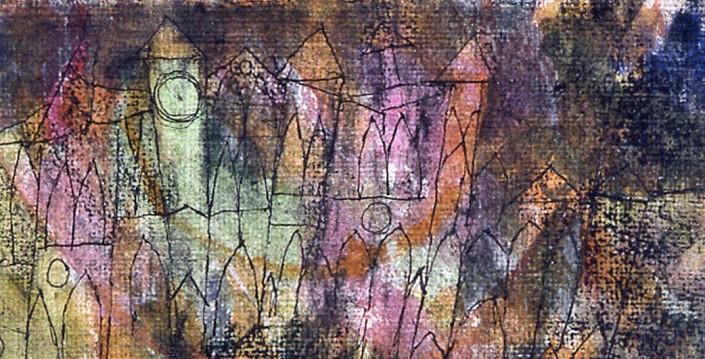 Paul Klee. «Le Château» 1913 Fusain, plume et aquarelle Collection particulière