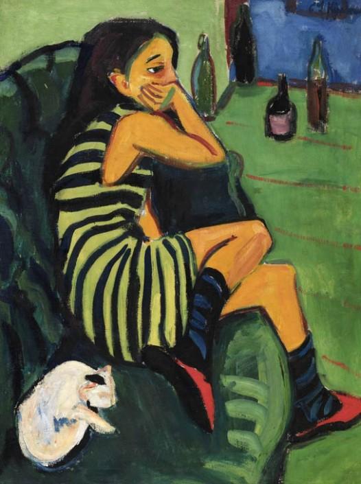 Ernst Ludwig Kirchner « L'Artiste Marcella » (détail), 1910.