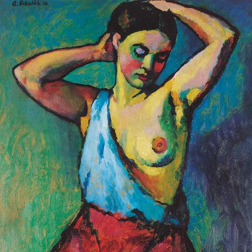 Adolf Erbslöh «Jeune fille en jupe rouge» 1910