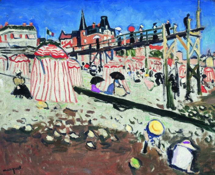 "Albert Marquet ""The Beach at Sainte-Adresse"" 1906. Oil on canvas Private collection. © Succession Albert Marquet / SODRAC (2014)"