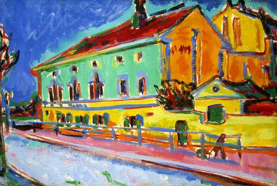 Ernst Ludwig Kirchner Dance Hall Bellevue (previously known as Houses in Dresden) 1909–10 Oil on canvas Washington, DC, National Gallery of Art, Ruth and Jacob Kainen Collection, gift in honor of the 50th anniversary of the National Gallery of Art