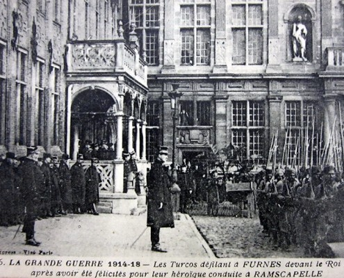 Phot-Express, The Great War 1914–1918—Turcos parading before King Albert of Belgium after having been congratulated for their heroic conduct at Ramscapelle (detail). Montreal, McGill University Library, Rare Books and Special Collections