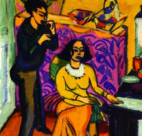 Ernst Ludwig Kirchner, Otto et Maschka Mueller à l'atelier (détail), 1911, huile sur toile. Virginia Museum of Fine Arts, the Ludwig and Rosy Fischer Collection, gift of the estate of Anne R. Fischer