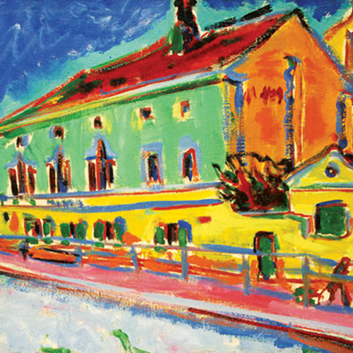 Ernst Ludwig Kirchner, Salle de bal Bellevue (auparavant Maisons à Dresde), 1909-1910, huile sur toile. Washington, DC, National Gallery of Art, Ruth and Jacob Kainen Collection, gift in honor of the 50th anniversary of the National Gallery of Art