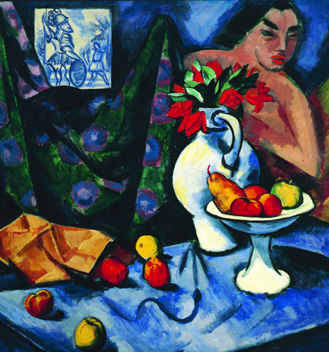 "Max Pechstein, ""Still Life with Nude, Tile, and Fruit"", 1913, oil on canvas. Wayzata, Minnesota, Collection Alfred and Ingrid Lenz Harrison. © Pechstein Hamburg / Toekendorf / SODRAC (2014)"