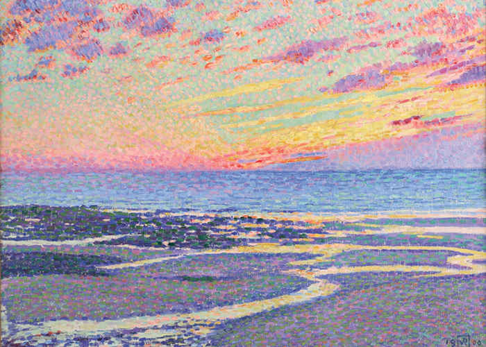 Théo van Rysselberghe, Beach at Low Tide, Ambleteuse, Evening (detail), 1900, oil on canvas. Portland Art Museum, gift of Laura and Roger Meier