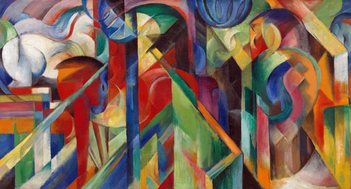 Franz Marc, Écuries, 1913, huile sur toile. New York, Solomon R. Guggenheim Museum, Solomon R. Guggenheim Museum Founding Collection. Photo: The Solomon R. Guggenheim Foundation / Art Resource, NY