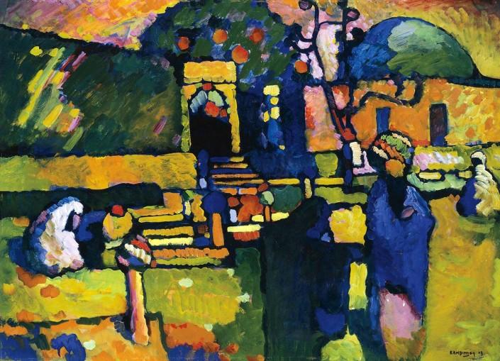 Wassily Kandinsky, Arabes I (Cimetière) (détail), 1909, huile sur carton. Hamburger Kunsthalle. © Succession Wassily Kandinsky / SODRAC (2014)
