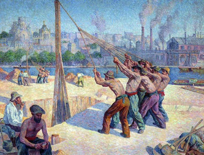 Maximilien Luce, The Pile Drivers (The Pavers) (detail), 1902–03, oil on canvas. Paris, musée d'Orsay, gift of Frédéric Luce, son of the artist, 1948