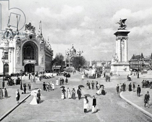 "Photographer unknown, ""France The Esplanade des Invalides, Exposition Universelle, Paris"" 1900 Black-and-white photograph The Bridgeman Art Library, The Stapleton Collection, Private collection"