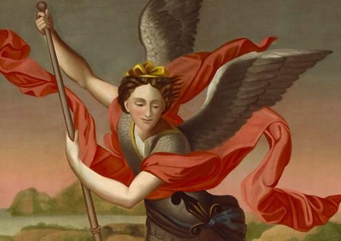 "Thomas-Henry Valin, ""Saint Michael the Archangel Slaying the Demon"" (detail), 1837"